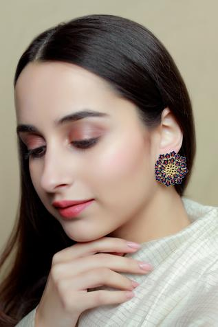 Floral Enamel Stud Earrings