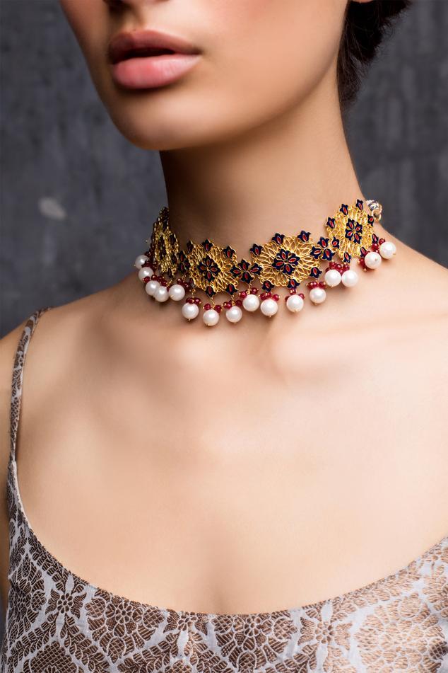 Floral Enamel Bead Drop Choker