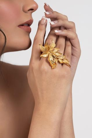Handcrafted Two-Finger Floral Ring