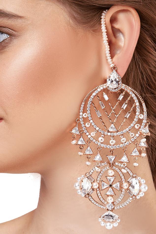 Oceana Ear Chain Crystal Danglers