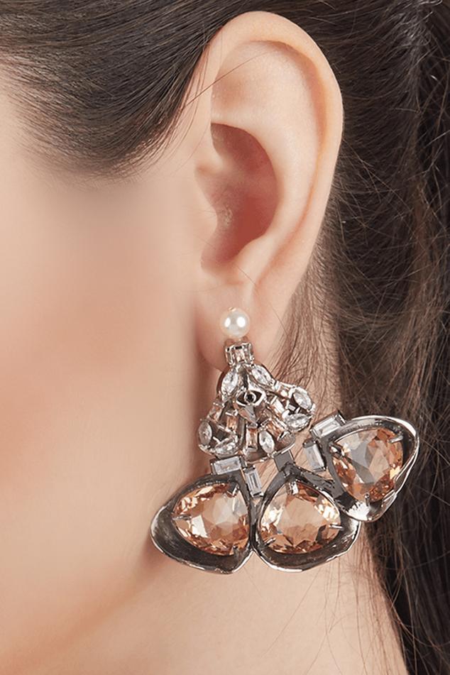 Amber Noir Crystal Danglers