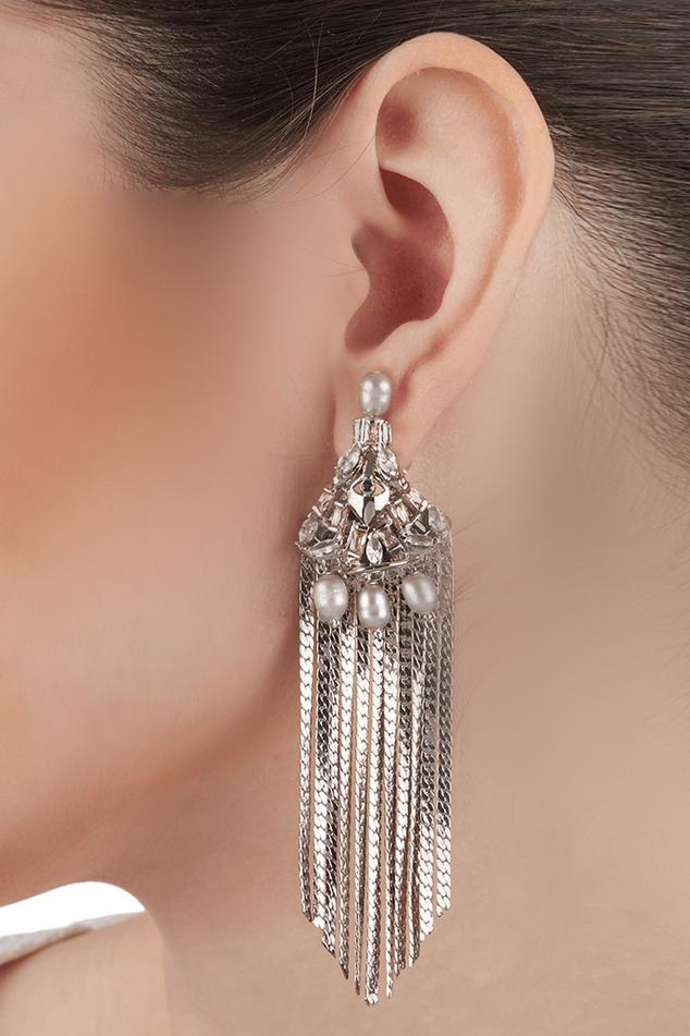 Noir Crystal Tassel Long Earrings