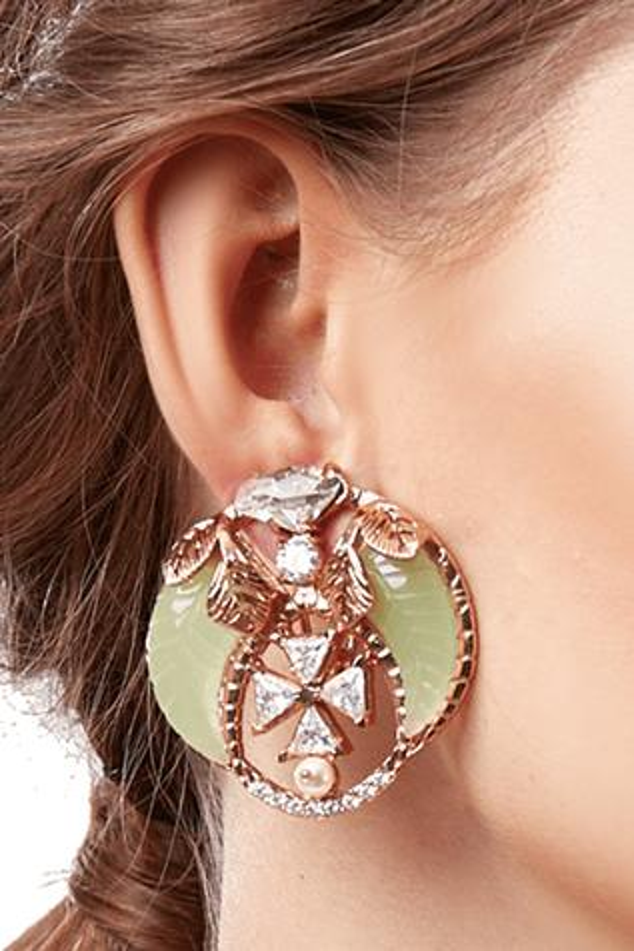 Jade Crystal Tusk Stud Earrings