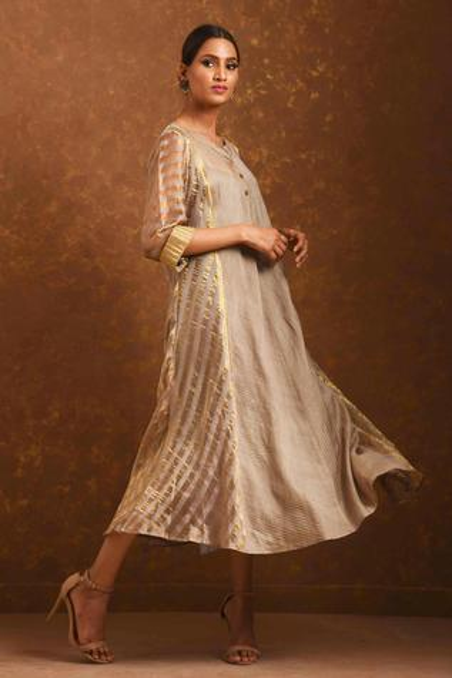 Striped Chanderi Dress