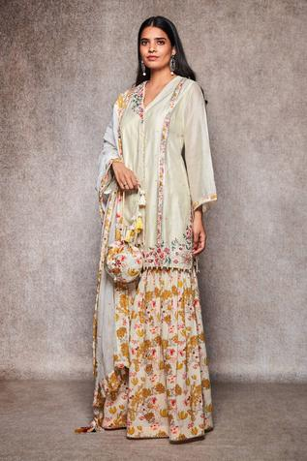 Embroidered Kurta & Gharara Set