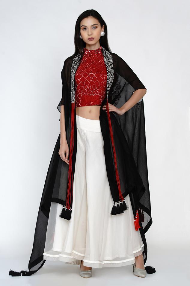 Embellished Top & Flared Pant Set