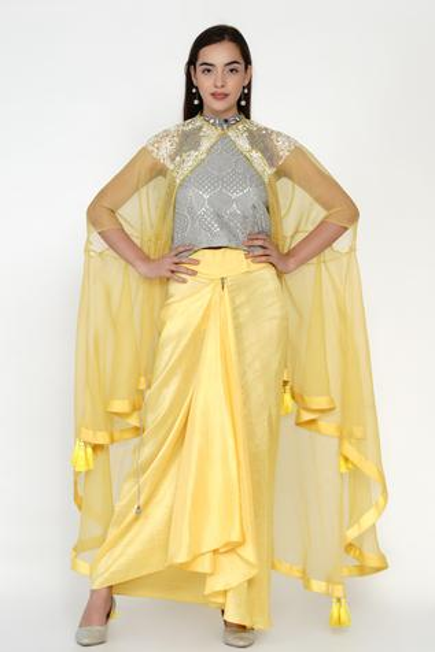 Embellished Top & Dhoti Skirt Set