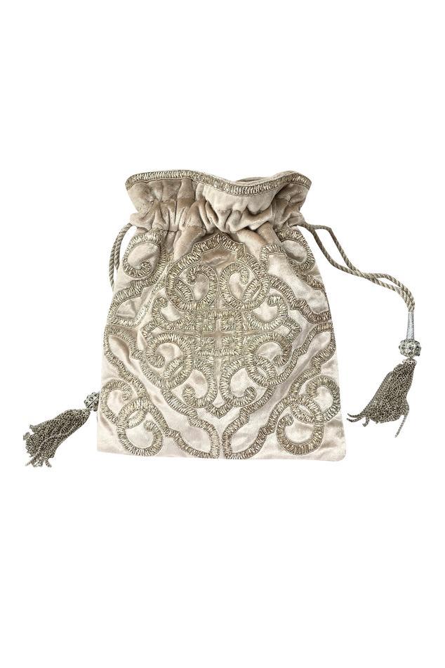 Emblem Velvet Potli Bag