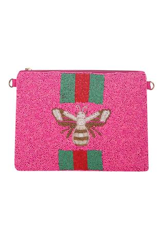 Bead Embroidered Clutch with Sling