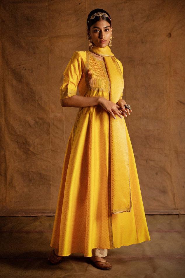 Chanderi Pintuck Anarkali Set