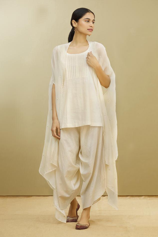 Kora Chanderi Cape & Draped Pant Set