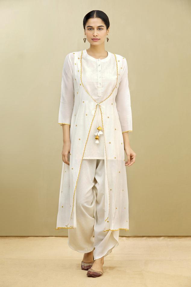 Kora Chanderi Jacket & Draped Pant Set