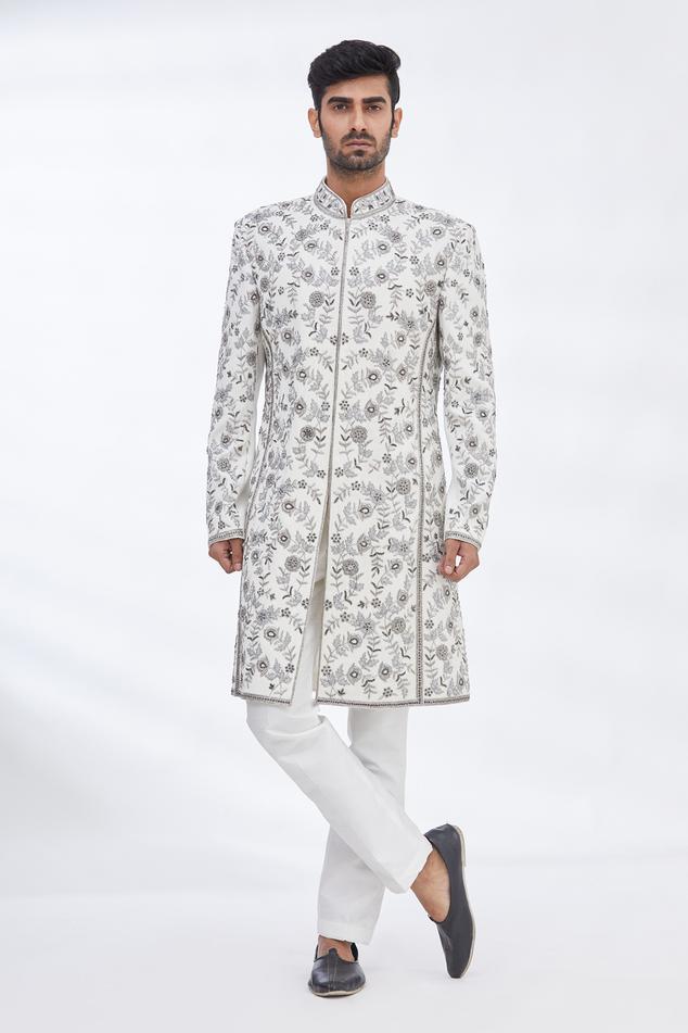 Suede Embroidered Sherwani Set
