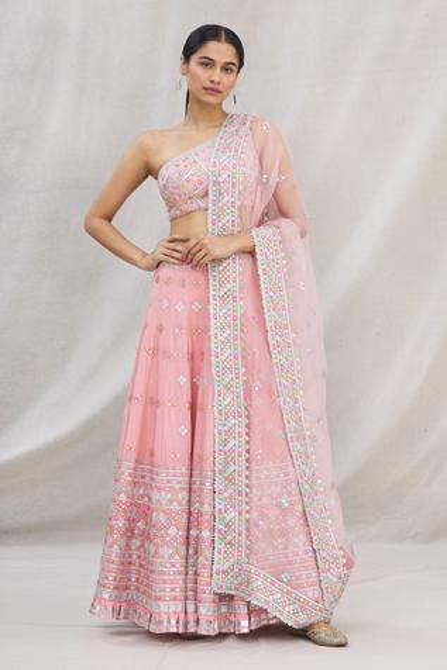 Embroidered Cotton Silk Lehenga Set