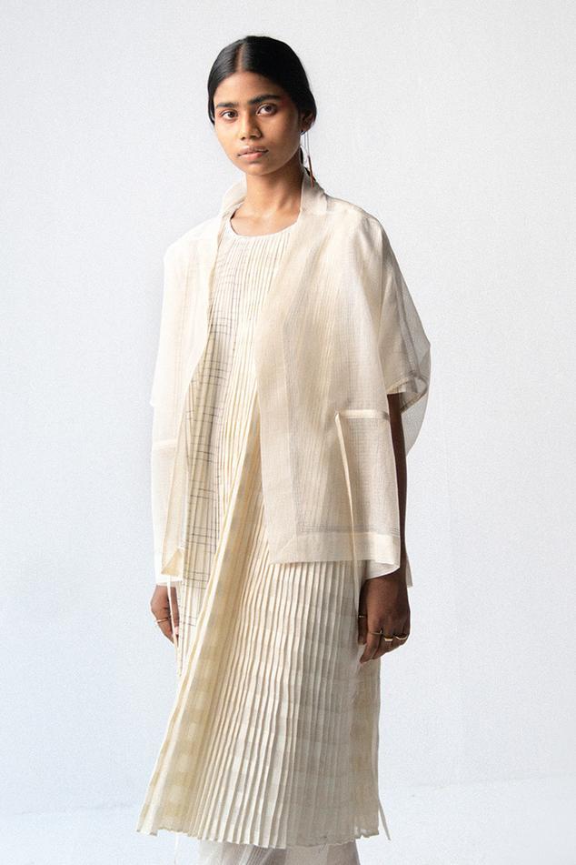 Pleated Cotton Dress