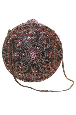 Oxidized Floral Clutch with Sling
