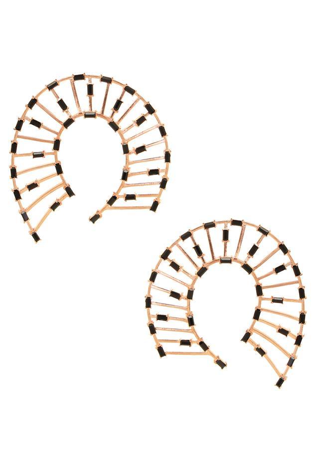Horseshoe Shaped Studded Earrings