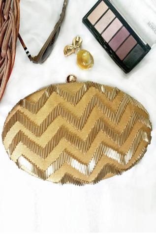 Silk Oval Clutch with Sling