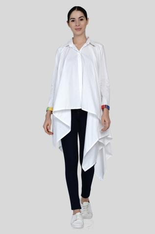Asymmetric Embroidered Shirt