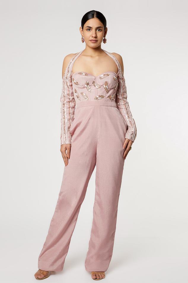Embroidered Halter Jumpsuit