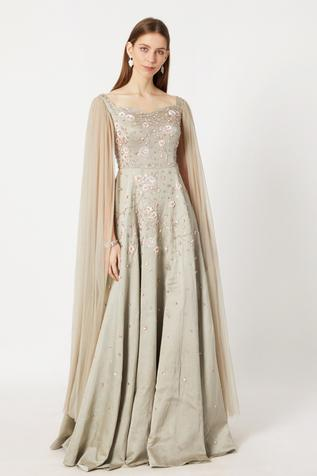 Embroidered Cape Sleeves Gown
