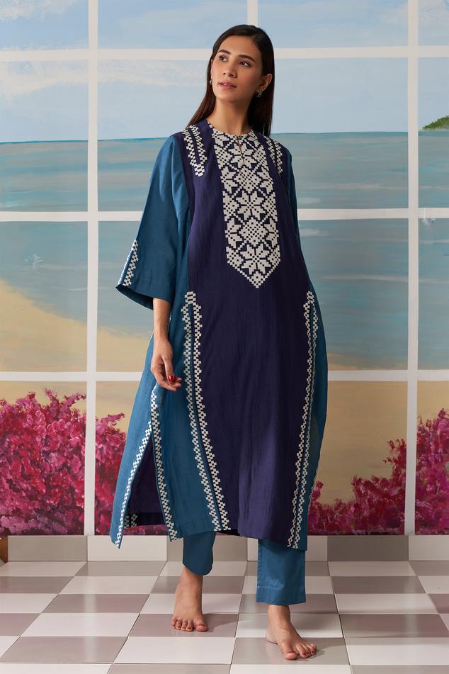 Chanderi Colorblock Tunic & Pant Set