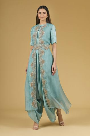 Draped Silk Jumpsuit with Embroidered Jacket
