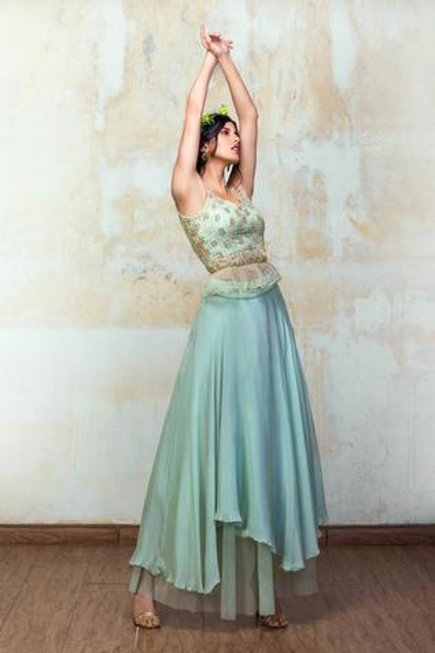 Mirror Embellished Blouse & Skirt Set