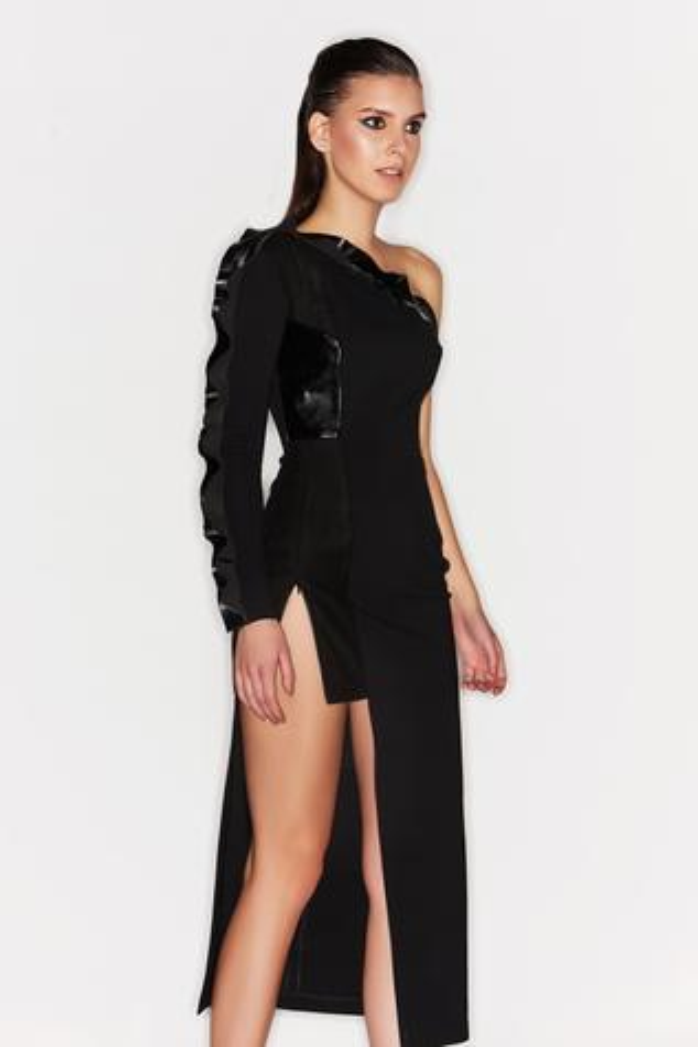 Bodycon One Shoulder Ruffle Dress