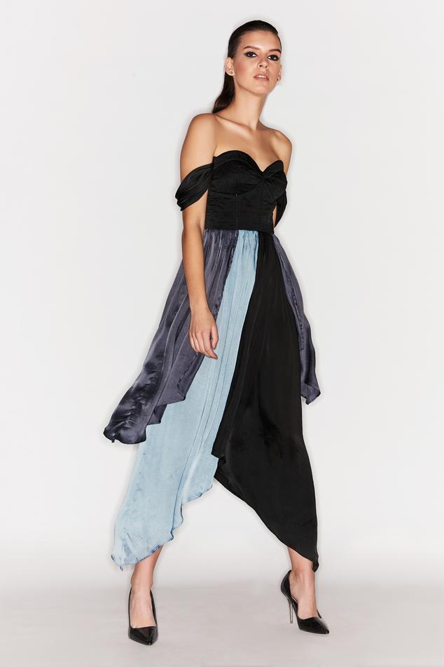 Colorblock Off Shoulder Dress