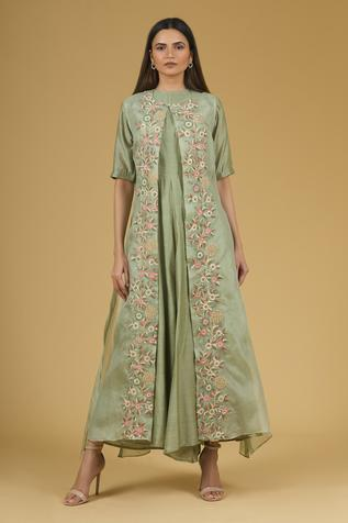 Silk Jumpsuit with Embroidered Organza Jumpsuit
