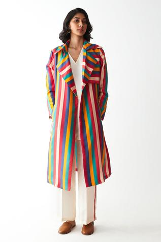 Striped Trench Jacket