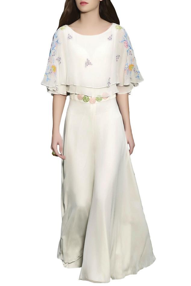 Ivory embellished cape jumpsuit