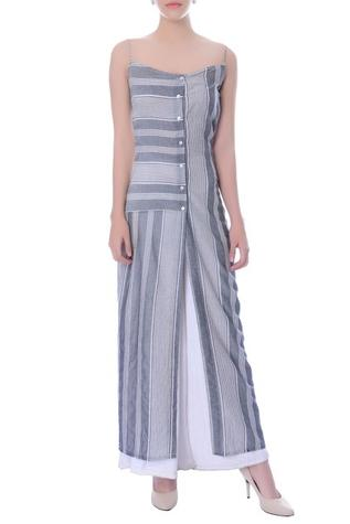 Grey and white striped tunic and palazzo