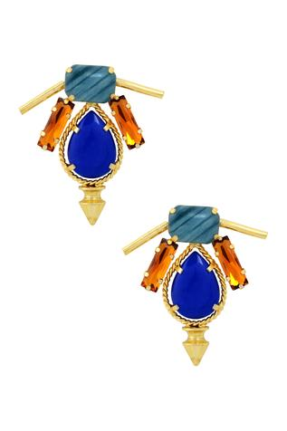 Gold finish earrings with colored stones
