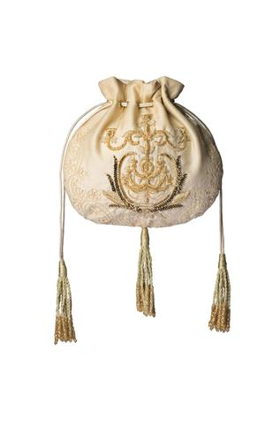 Champagne embroidered potli bag
