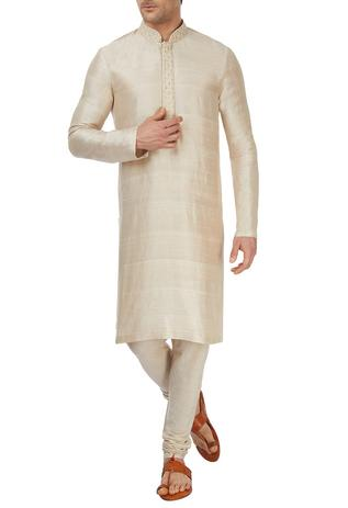 Embroidered Silk Kurta & Pant Set