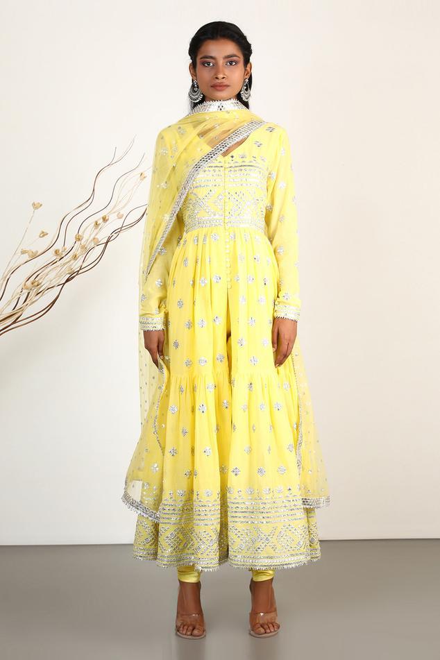 Mirror Embellished Anarkali Set