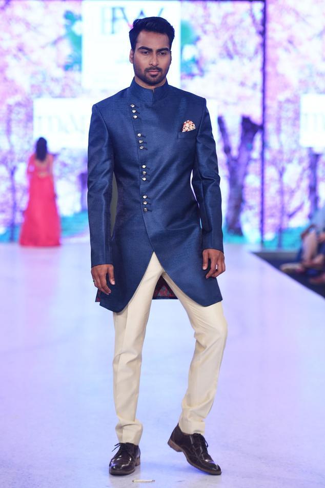 Navy blue sherwani & beige trousers