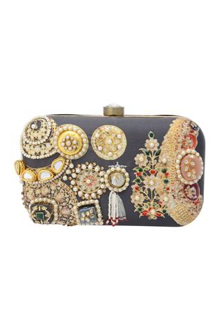Black box clutch with pearls & beads