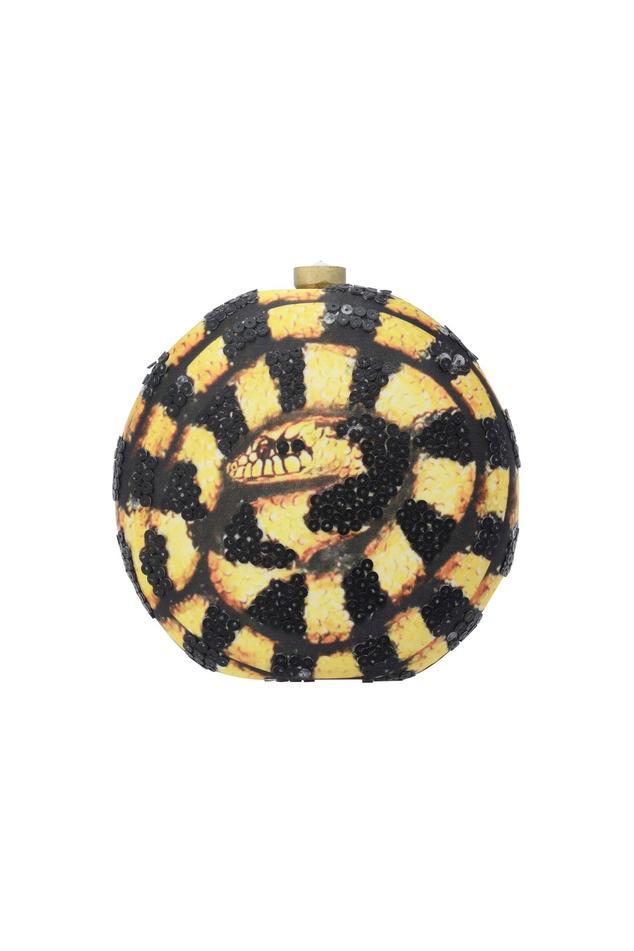 Black & yellow circular clutch