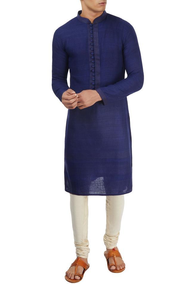 Dark blue textured kurta