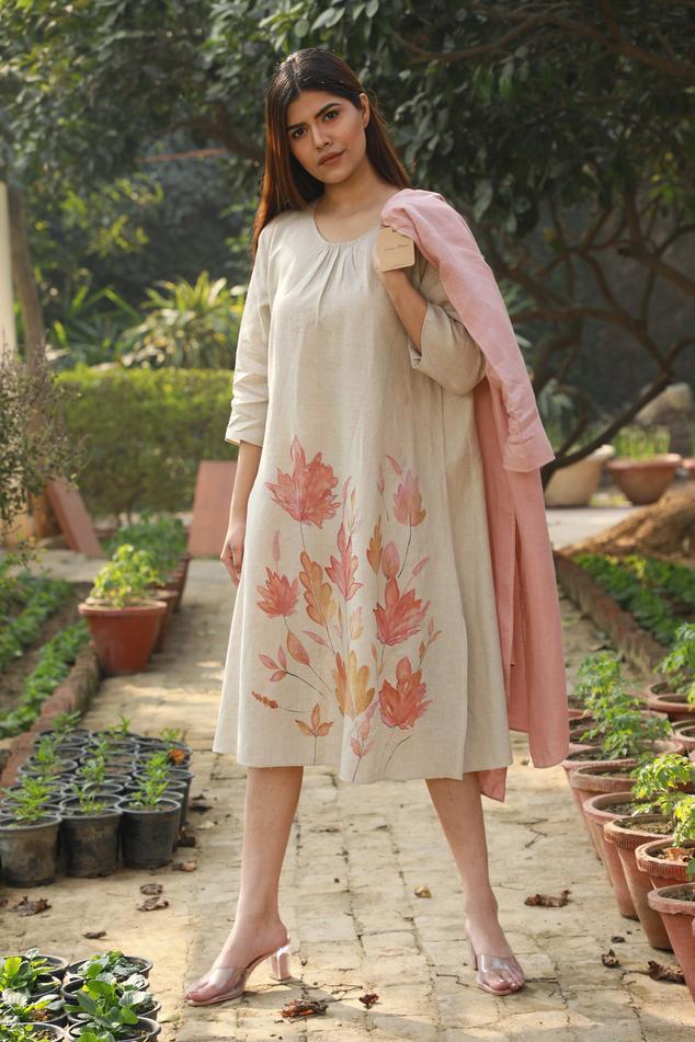 Linen Hand Painted Dress