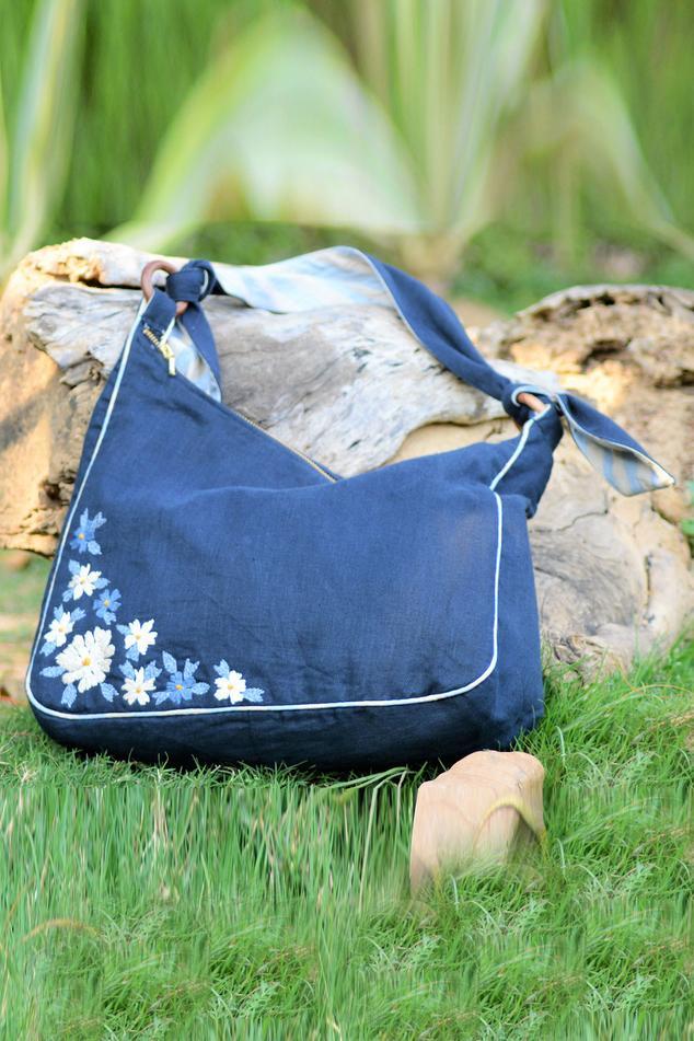 Linen Hobo Bag