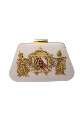 White zardozi embroidered clutch