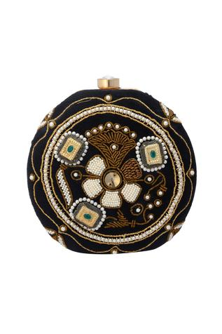 Black clutch with embellishment
