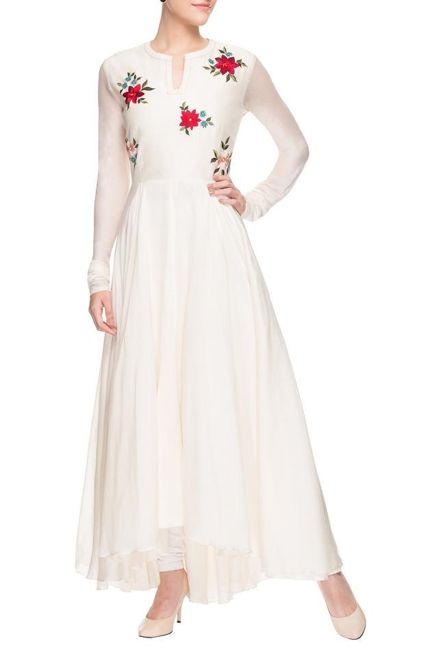 White multi-coloured motif embroidered kurta