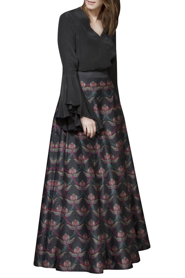 Deep green paneled skirt