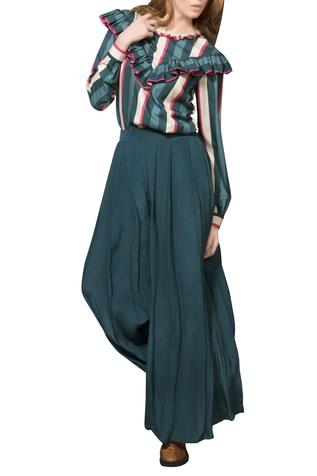 Teal blue pleated palazzo pants