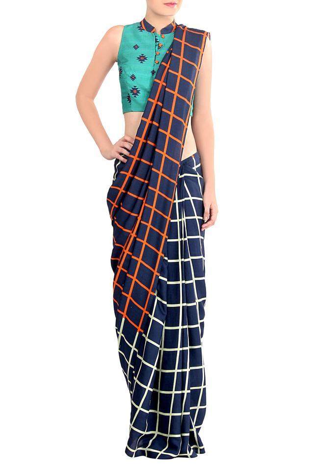 Blue checkered saree
